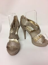 New Look Ladies Gold Sparkle Strappy Sandals High Heels UK5 Platform Zip Party