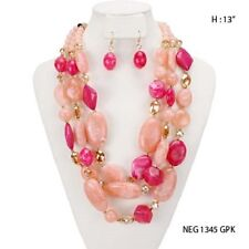 "16"" Adjustable 3 Layer Chunky Pink Necklace W Earrings"