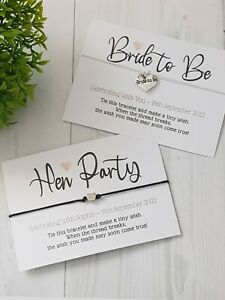 Elegant Hen Party & Bride to Be -  wish bracelets with silver heart