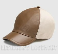 05dae5dd GUCCI brown Leather tan Cotton L Interlocking G embroidery Baseball Hat NWT  Auth