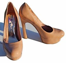 "~WILD PAIR ""Theresa"" Platform ""Chunky"" Stiletto Heel Pump Size 7½M   TAN~NUDE"