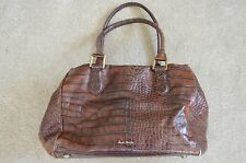 Paul Smith Brown Leather Croc Stud Base Large Womens Tote Shoulder Handbag