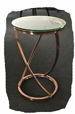 Stella 550x350 Rose Gold Steel Clear Glass Side Table - BRAND NEW