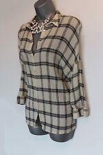 Zara Ivory Black Check Print 3/4 Sleeves Collared Loose Top Shirt MEDIUM