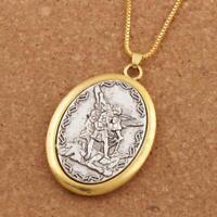 """Patron Saint St. Michael The Archangel 2"""" Medal Pendant Necklace 24"""" Box Chain"""