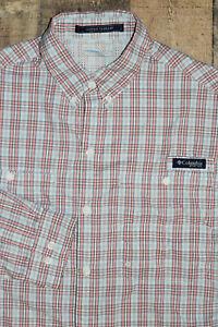 Columbia PFG Super Tamiami L/S Shirt Men Medium Pink White Plaid Check Vented 35