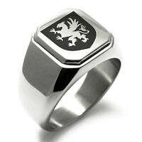 Stainless Steel Valor Coat of Arms Shield Mens Square Biker Style Signet Ring