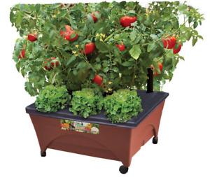 Patio Raised Garden Bed Grow Box Orange w/ Watering System on Wheels 24 x 20 in.