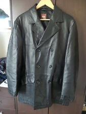 Men's HUGO BOSS black double breasted leather jacket M-L
