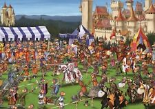 Jigsaw puzzle Medieval Jousting Tournament of Knights Caricature 1000 piece NEW