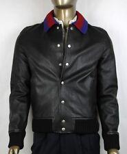 $3950 Gucci Men's Black Grainy Leather Bomber Jacket w/BR Web 48R 431345 1301