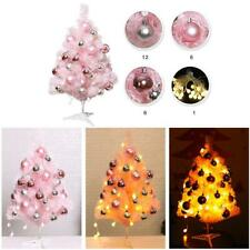 Mini Christmas Tree Ornament Pink Xmas Tree with Light for Home Desktop Decor