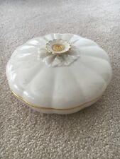 Authentic Lenox Cream Dish With Gold Trim And Flower Petal Lid