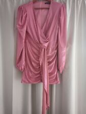 Prettylittlething Size 14 Ruched Front Drape Detail Plunge Pink Mini Dress