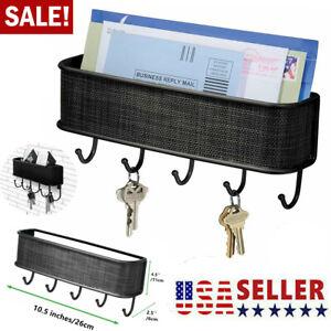 Wall Mount Key Rack Hanger Holder 5 Hook Chain Storage Keys Organizer Home Decor
