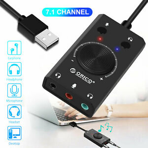 7.1 Channel External USB Sound Card Stereo Audio Adapter for 3.5mm Headphone PS4