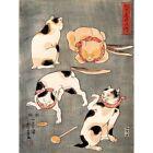 Painting Animals Cats Different Poses Utagawa Kuniyoshi Japan Framed Art Print