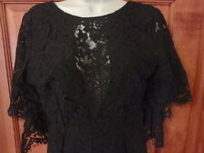 Mustard Seed Lace Black Mini Cocktail Dress Size M Asymetrical sleeves Gothic