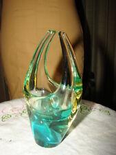 Murano Sommerso Glass Sculpture Basket green yellow Flavio Poli  Seguso Vetri