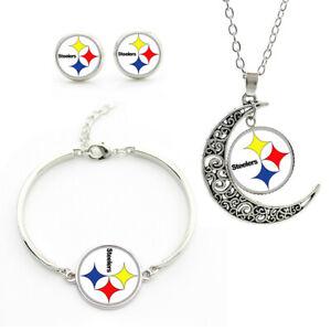 NF49 Pittsburgh Steelers team logo set -necklace, bracelet, earrings-