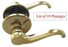 10 Polished Brass Passage Lever Handle Door Lock for Hallway or Closet