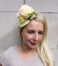 Yellow Cream White Rose Berry Flower Fascinator Teardrop Races Headband Vtg 3249