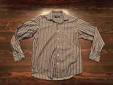 Bugatchi Uomo Black White Striped Button-Front Flip Cuff Shaped Fit Shirt Mens M