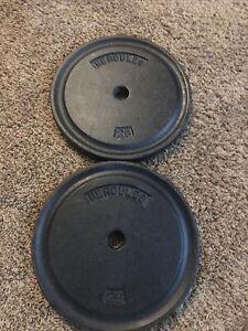 Hercules Vintage York Barbell Standard Weight Plates Metal 2 - 25lbs 50lbs Total