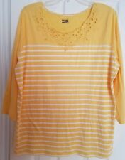 Basic Edition Top Yellow Striped Knit Shirt Nautical Summer Casual Plus Size 1X