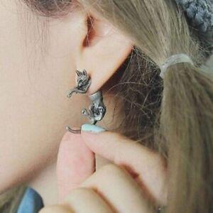 Pair of Silver Cat Ear Stud Earrings Halloween Witch Emo Goth Earring Jewellery