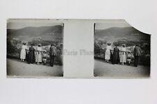 Photo Amateur Plaque de verre (cassé) stereo Positif Vintage
