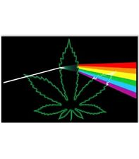 POT LEAF PRISM - WEED BLACKLIGHT POSTER - 24X36 FLOCKED MARIJUANA 1967