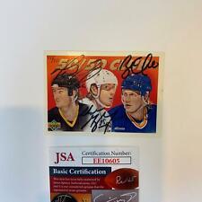 Wayne Gretzky Mario Lemieux Brett Hull Signed 1991 Upper Deck Card With JSA COA