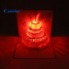3D Pop Up Light Greeting Card Happy Birthday Music Postcard Blessing Gift Cards