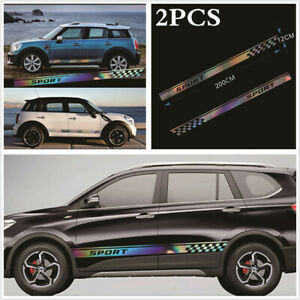 1 Pair Car Styling Side Body Decal Laser Reflective Graphics Sticker Waterproof