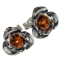 4.65g Rose Stud Authentic Baltic Amber 925 Sterling Silver Earrings N-A8532