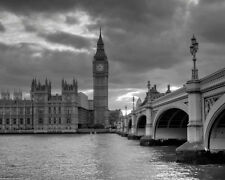 UK BIG BEN AND WESMINISTER BRIDGE Glossy 8x10 Photo London Poster United Kingdom