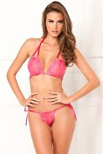 2pc Lace Tie Up Bra And Thong Set New Adult Womens by Rene Rofe Pink One Size