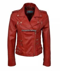 Ladies vintage MYSTIQUE RED WASH & WAX Biker Motorcycle Designer Leather Jacket