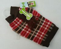 EXTRA SMALL SIZE XS - NEW Red Brown Plaid Scarf Dog Pet Sweater Apparel 2444369