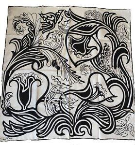 "VTG RICHARD ALLAN Silk Twill Mod Abstract Print Black & White 29"" Sq Handrolled"