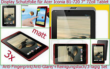 "3 x Anti reflex glare Display Schutz Folie Acer Iconia B1-720 7 "" Tablet PC matt"