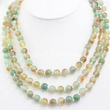 10mm Natural Multi-Color Jade Round Gemstone Beads Long Necklace 36''