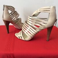 ENZO Angiolini LEATHER STRAPPY SANDALS SZ 6.5M Tan Taupe High Heels Shoes (bx32)