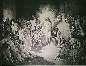 """NORMAN LINDSAY NUDE ETCHING REPRODUCTIONS (3), VINTAGE 1920s 11x17"""" MINT"""