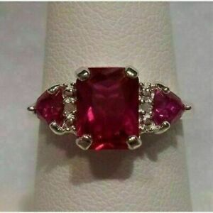 2.50Ct Emerald Cut Red Ruby Women's Engagement Ring 14K White Gold Finish