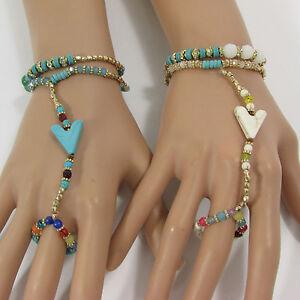 Women Fashion Arrow Bracelet Hand Chain Slave Ring White Turquoise Blue Beads