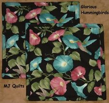 "Set of 2 (8"") ""Glorious Hummingbirds""  Handmade-Quilted-Insulated-Hot Pads"