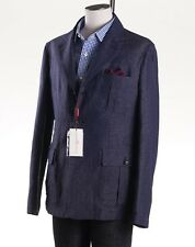 NWT $1895 LUCIANO BARBERA Indigo Blue Woven Cotton-Linen Sport Coat 44 R