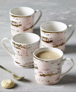 Next Set of 4 Rosa Pink And Gold Porcelain Mugs/Cups.Tea,Coffee,Kitchen Table.BN